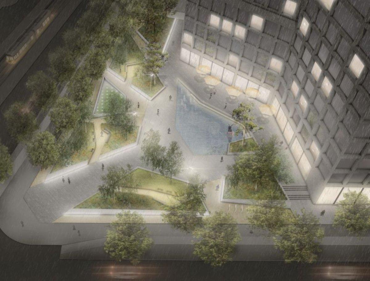 Der neue Stefan-Heym-Platz erhält eine Nachtbeleuchtung und grüne Inseln.