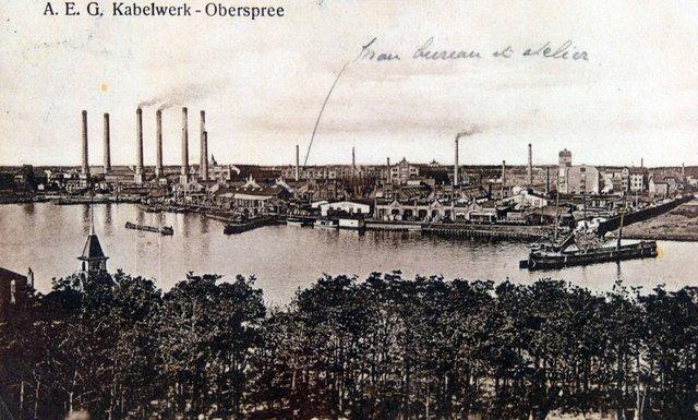 Blick auf das ehemalige AEG-Kabelwerk Anno 1900.