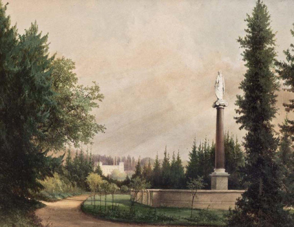 Tafel im Buch: C. G. A. Graeb, Grabstätte Familie von Humboldt im Park von Schloss Tegel, Aquarell um 1850. SSM Berlin. Fotokopie: Anne Schäfer-Junker