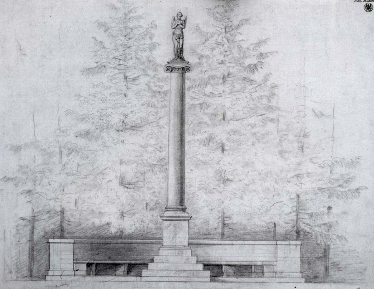 Abb. im Buch: Karl Friedrich Schinkel, um 1829, Schloß Tegel, Schlosspark Denkmal f. Gemahlin Wilhelm von Humboldts, Graphit, Zirkel, Blattmaß. KK-SMB. Fotokopie: Anne Schäfer-Junker