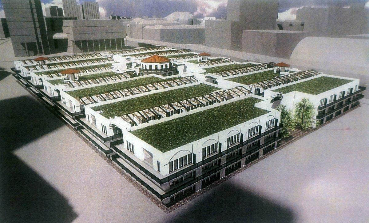 Die Animation von 50Plus Kompakt zeigt im Mittelpunkt des Quartiers den Pavillon aus Carbonbeton.