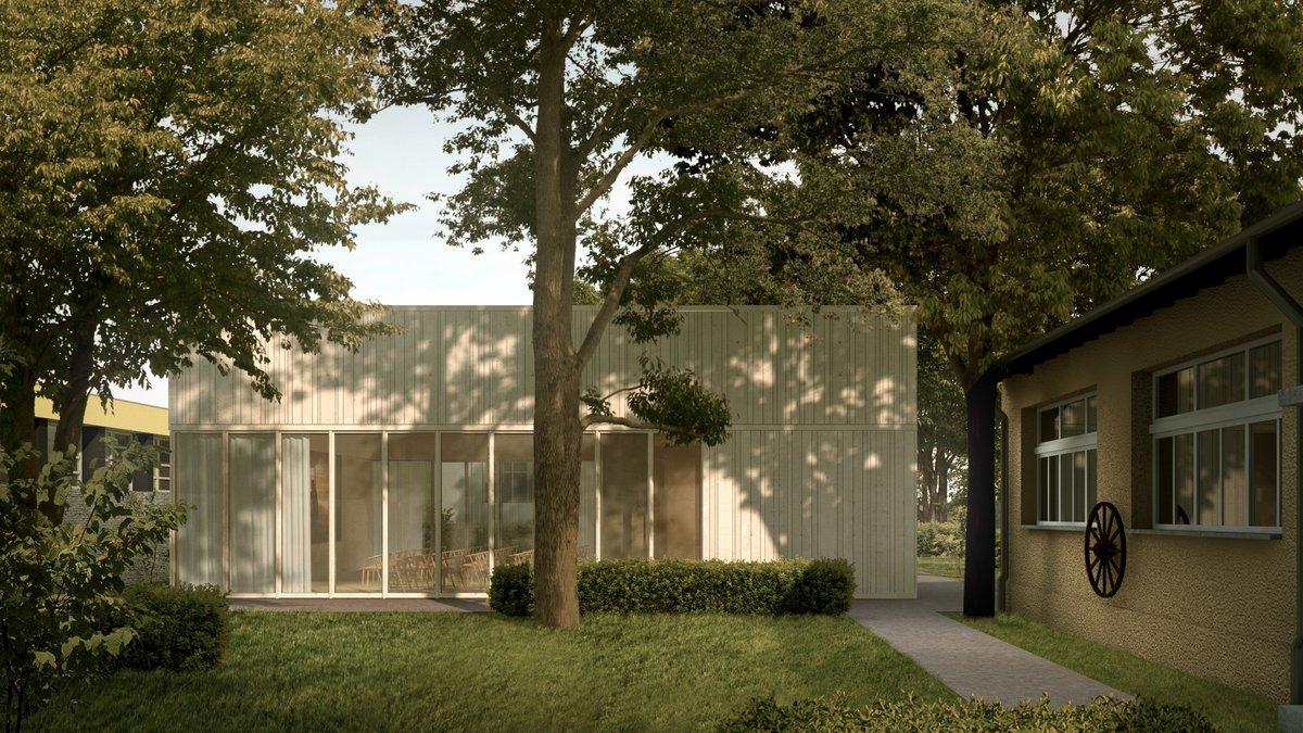 Holz und Glas: So soll die neue Seniorenfreizeitstätte hinter der Alten Dorfschule einmal aussehen.