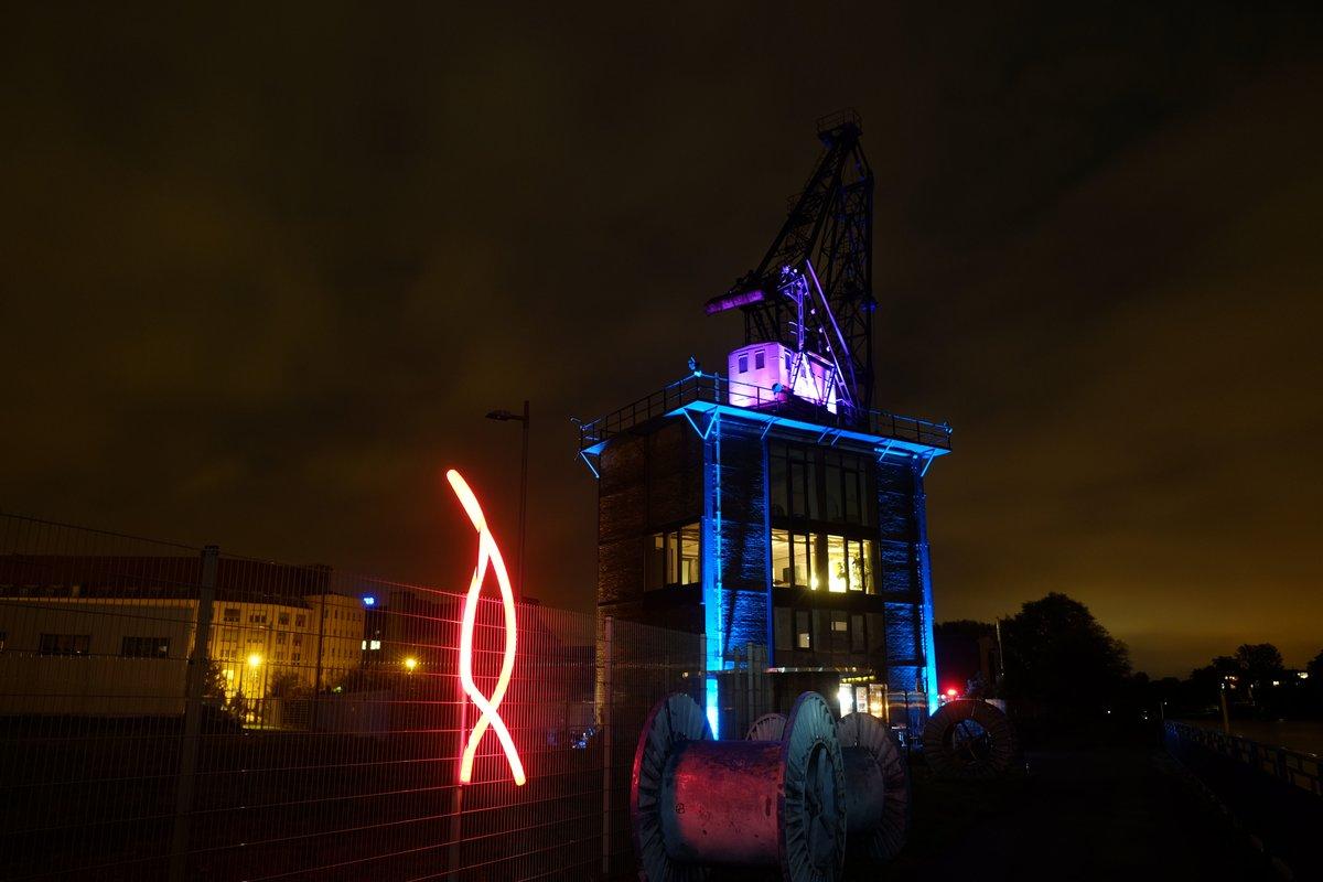 Das historische Kranhauscafé im Lichterglanz.